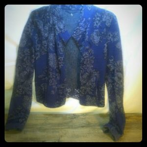 Anthropologie knitted & knotted blue blazer  small